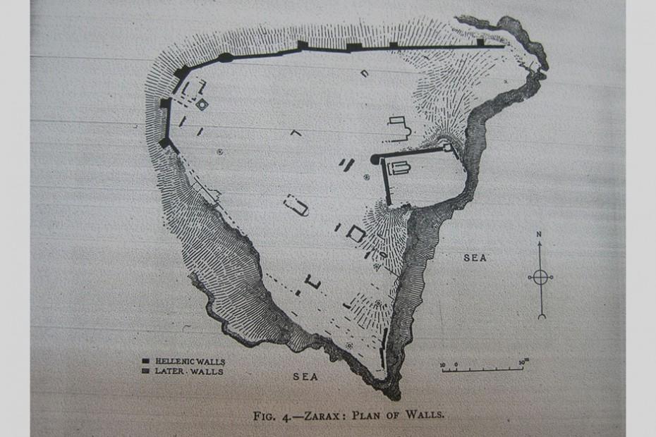 Σχέδιο της ακρόπολης του Ζάρακα. ©The Annual of the British School at Athens, No XV, 1908 – 1909, London
